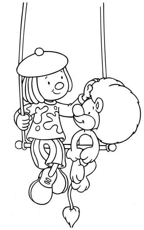 jojo circus and Goliath the Lion Coloring Sheet for Kids