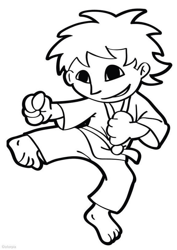 karate kids cartoon coloring page for young little angles