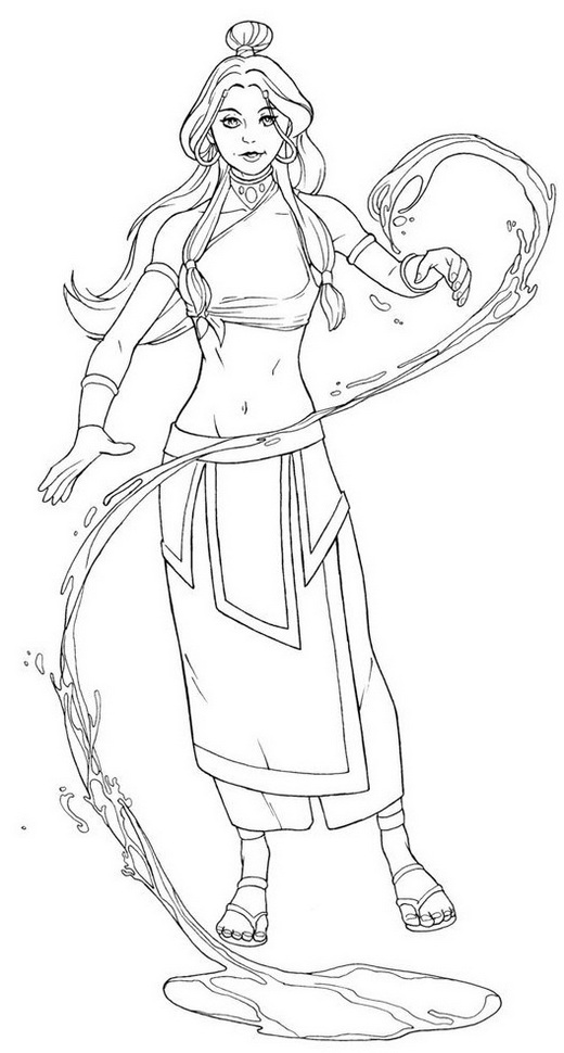 katara changing water into ice line art coloring sheet