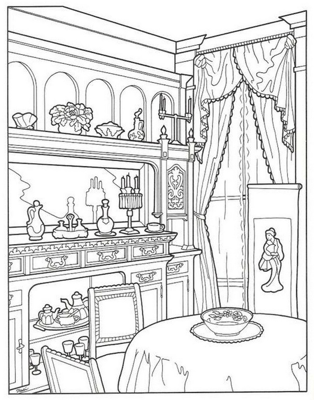 Luxury Europe Dining Room Coloring Page