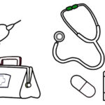 medical tool bag and first aid coloring sheet