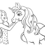 mia and onchao unicorn from Mia and Me cartoon coloring sheet