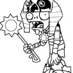 mummy plants vs zombies coloring page for kids