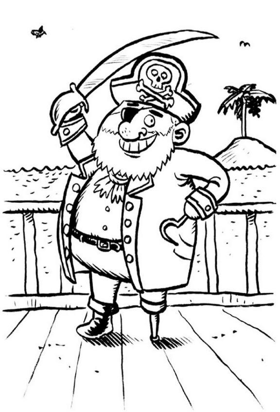 pirate smiling on the ship coloring and activity page
