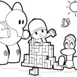 pocoyo playing lego coloring picture