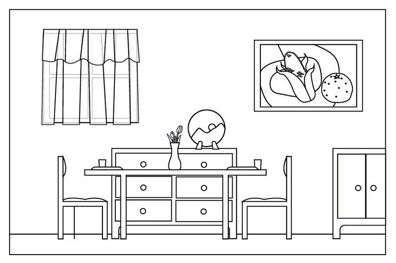 coloring pages simple living room - photo#14