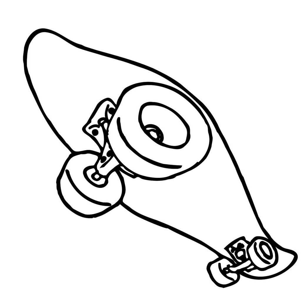 skateboard coloring sheet for kids