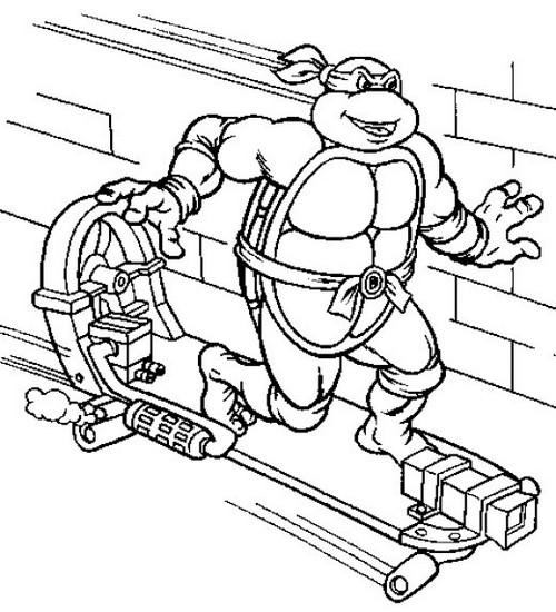skateboard ninja turtle coloring picture for boys