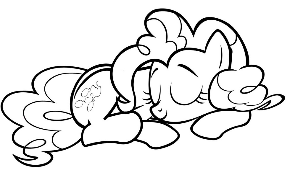sleepy pinkie pie lineart MLP drawing and coloring picture