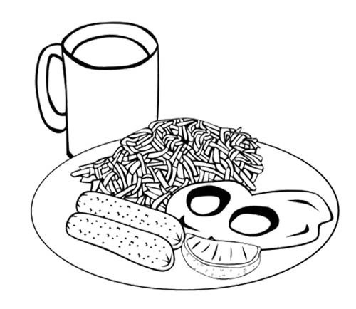 spaghetti eggs sausage coloring sheet