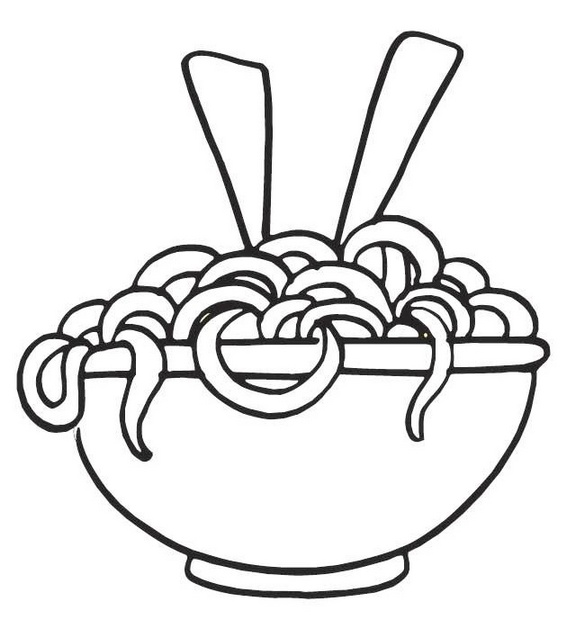 spaghetti noodles coloring sheet for kids