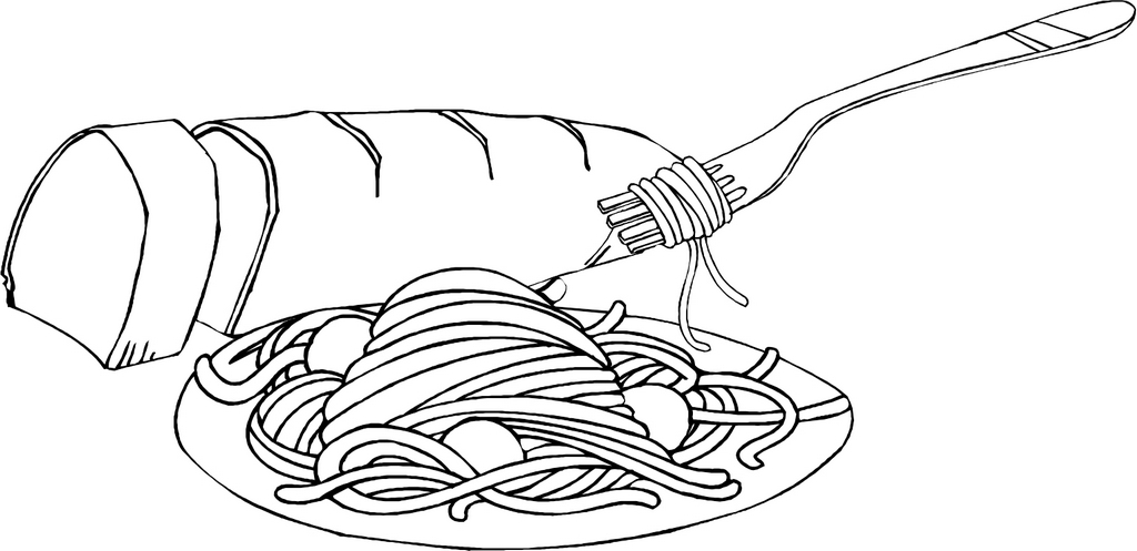 spaghetti pasta and bread coloring picture