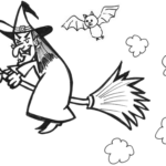 spooky witch coloring sheet