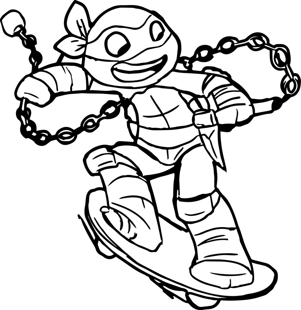 teenage mutant ninja skateboard coloring page