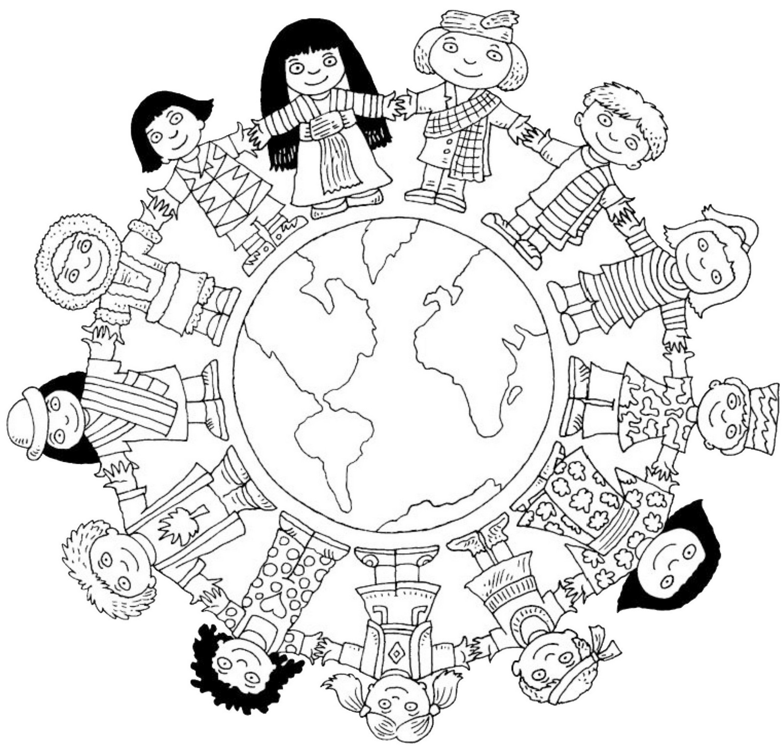 unity in diversity in world coloring sheet for kids