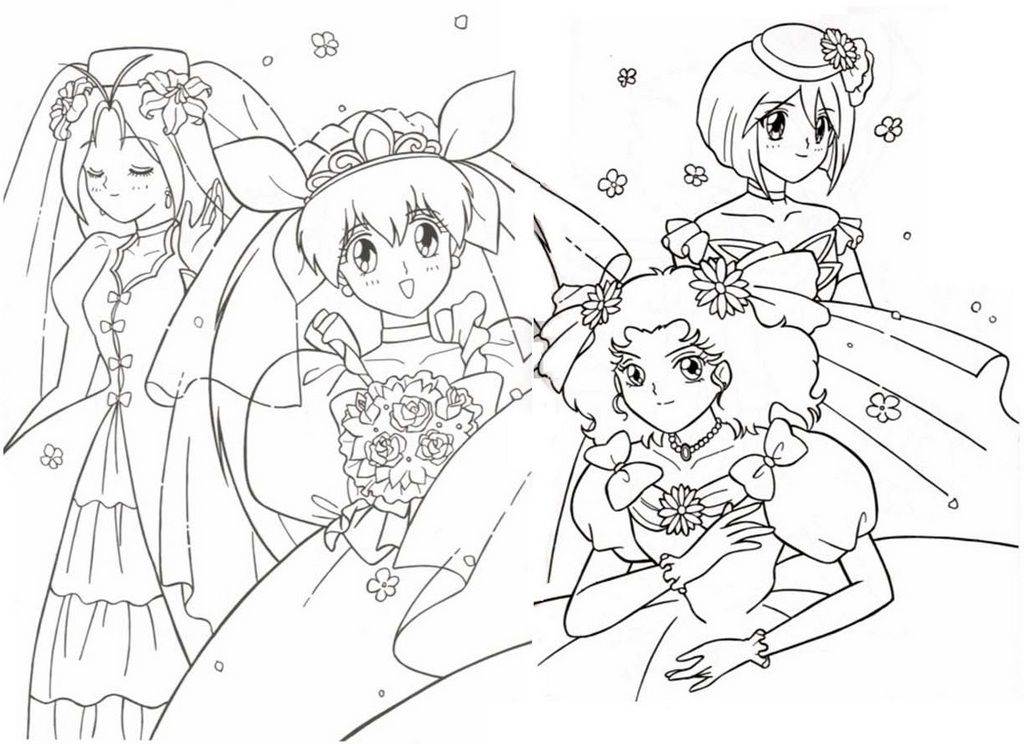 wedding peach transpformation all characters coloring sheet