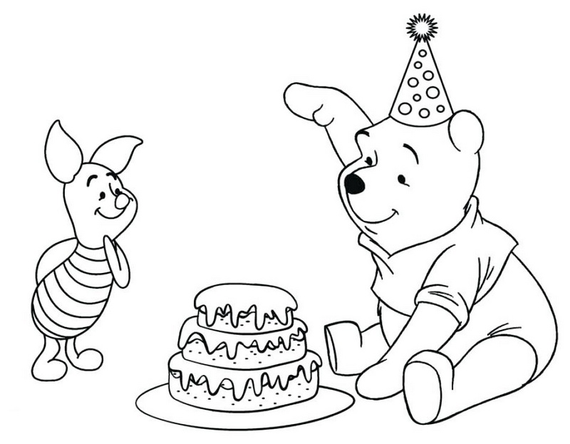 winnie the pooh celebrating birthday with a cake coloring sheets