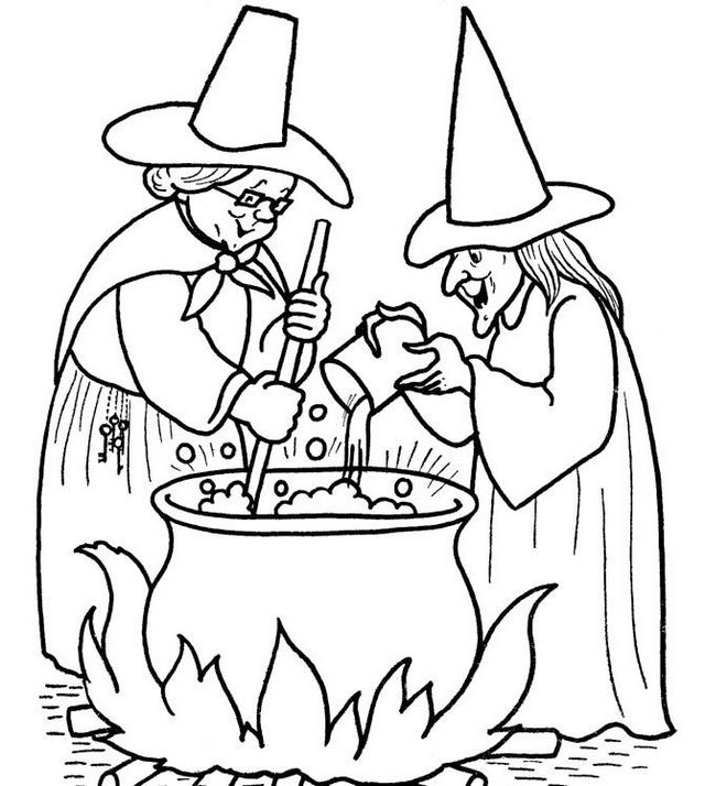 witch cooking pot coloring picture