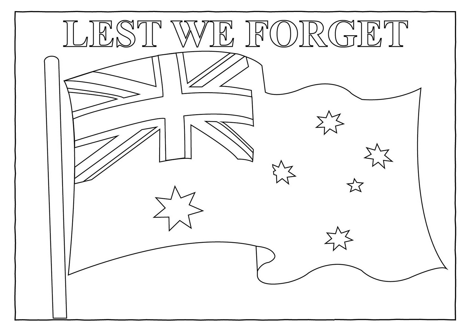Australia flag fluttering coloring page