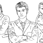 Christopher Eccleston David Tennant and Matt Smith in Doctor Who Coloring Sheet
