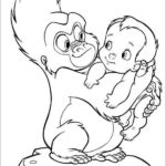 Cute Baby Tarzan and Terk coloring sheet