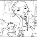 Dottie Hallie Stuffy and Lambie from Doc McStuffins Coloring Page
