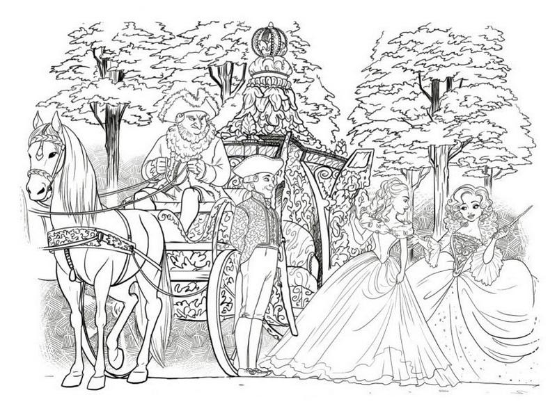 Elegant Cinderella Carriage Coloring Picture