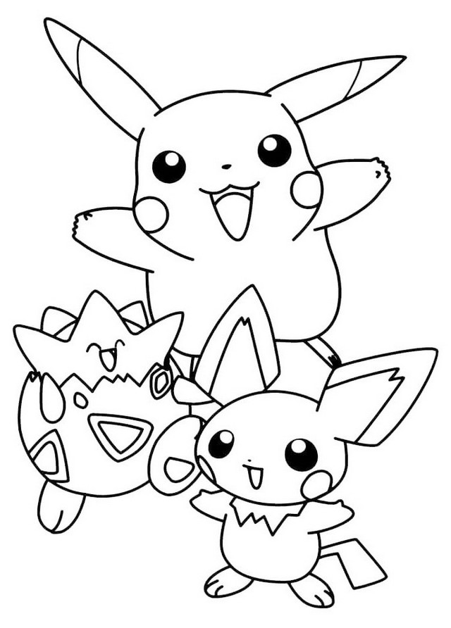 Fun Pokémon Togepi and Pichu Coloring Sheet