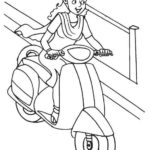 Fun lady riding vespa scooter coloring page