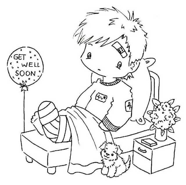 Get well soon coloring sheet with a kid in the hospital