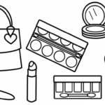 Glitter Makeup Printable Coloring Page 595x421