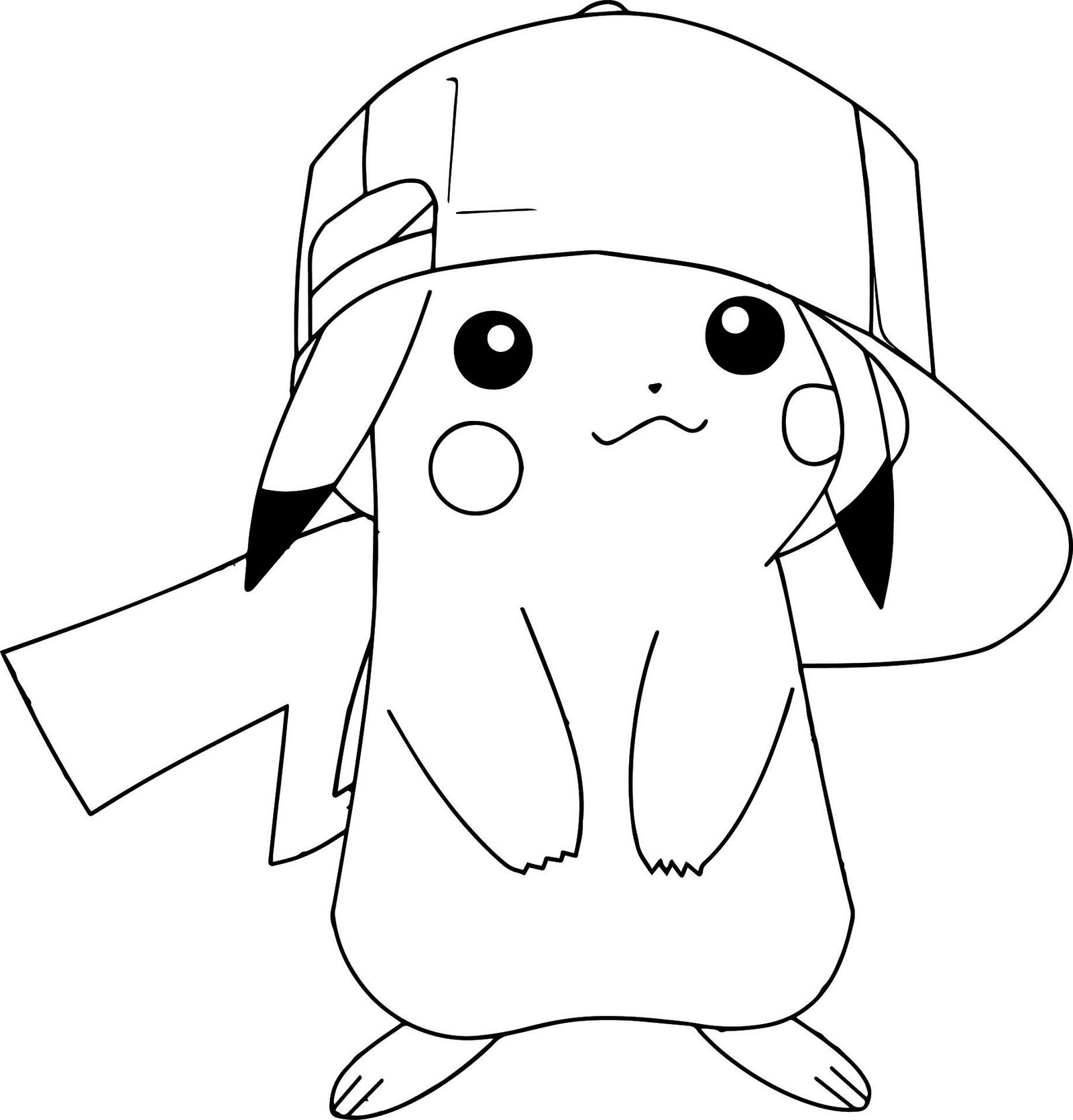 Hat Ash Ketchum Pokemon Coloring Page