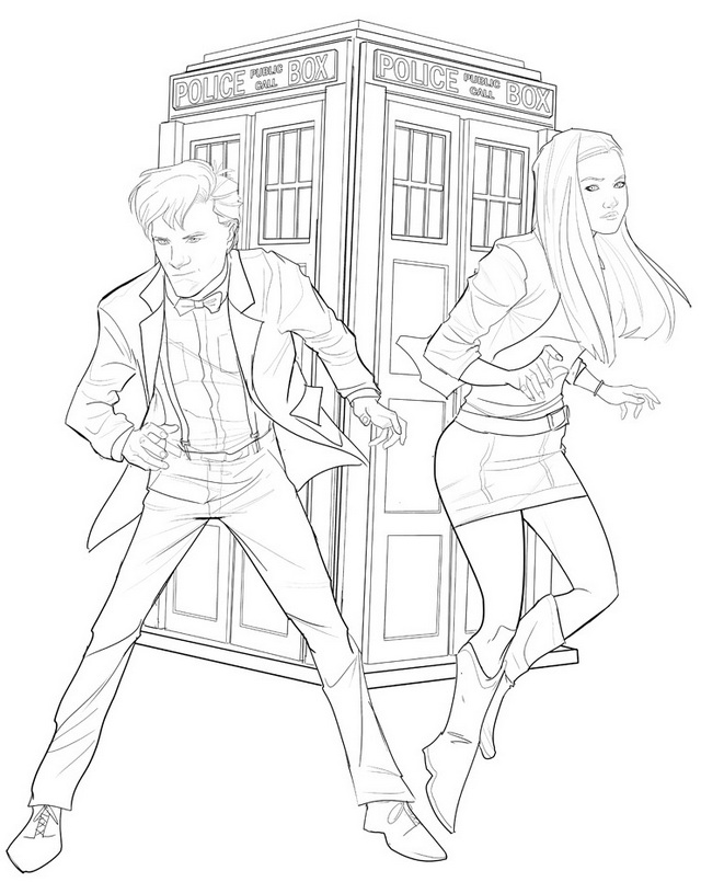 Matt Smith and Karen Gillan in Doctor Who Coloring Page