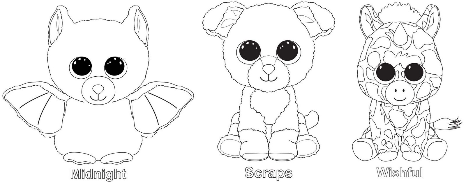 Beanie Boo Coloring Pages Featuring Favorite the Stuffed Animals and