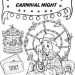 Night Carnival Ferris Wheel and Carousel Coloring Sheet