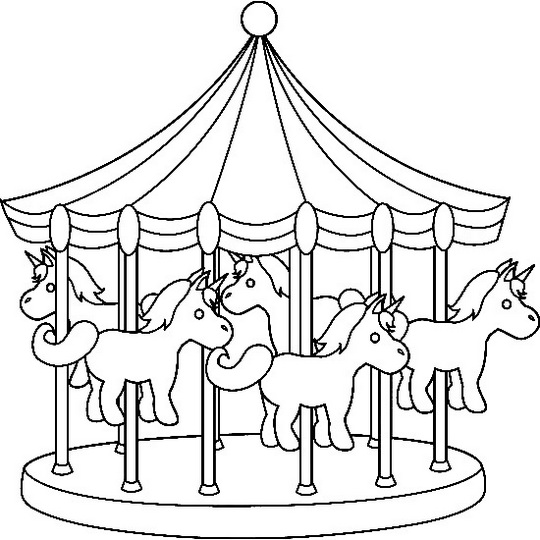 Night Carnival Carousel Coloring Picture
