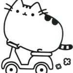 Printable Pusheen Riding Motorcycle theme Coloring Sheet
