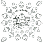Pusheen Baking Cupcakes coloring sheet