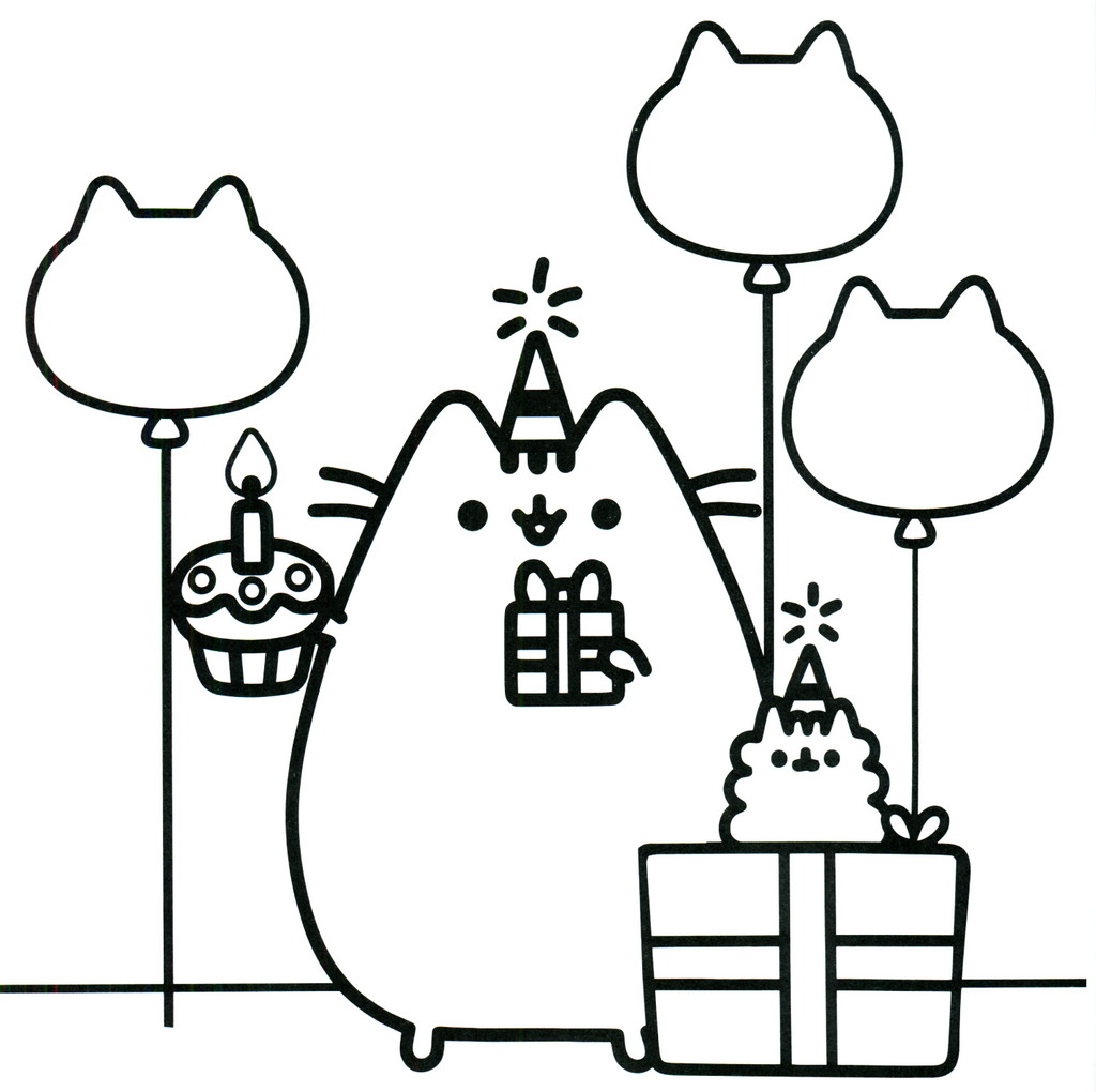 Pusheen Birthday theme coloring sheet