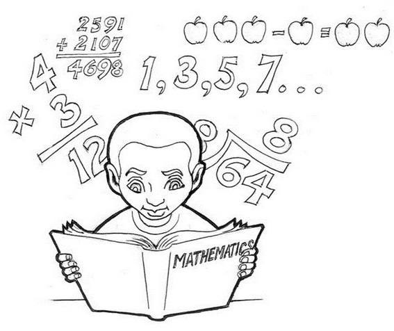 Student learning math coloring sheet