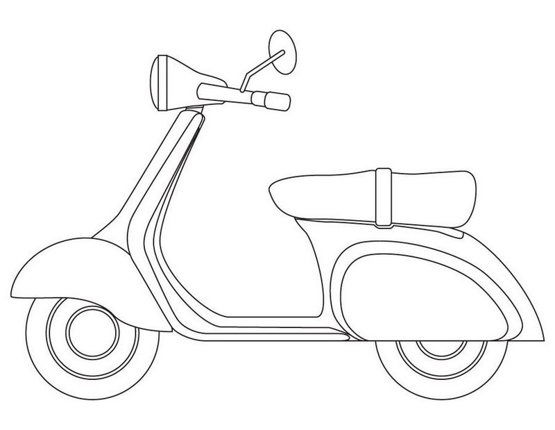Vespa Italian scooter coloring page