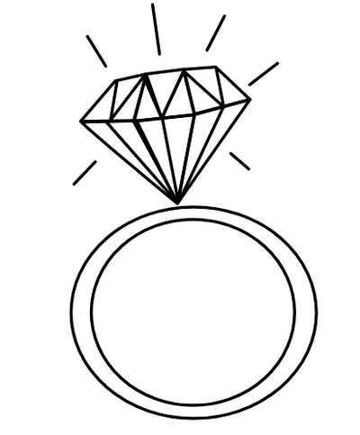 Wedding Diamond Ring Coloring Page
