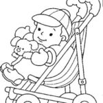 baby stroller coloring baby shower theme page