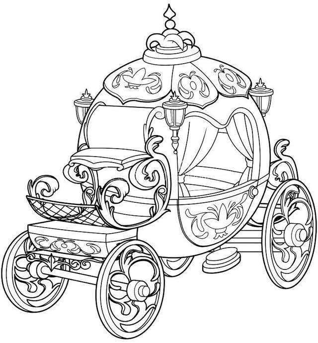 beautiful cinderella fairy tale pumpkin carriage design coloring sheet