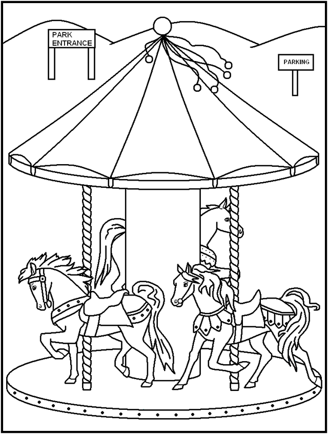 beautiful night carnival carousel coloring pages
