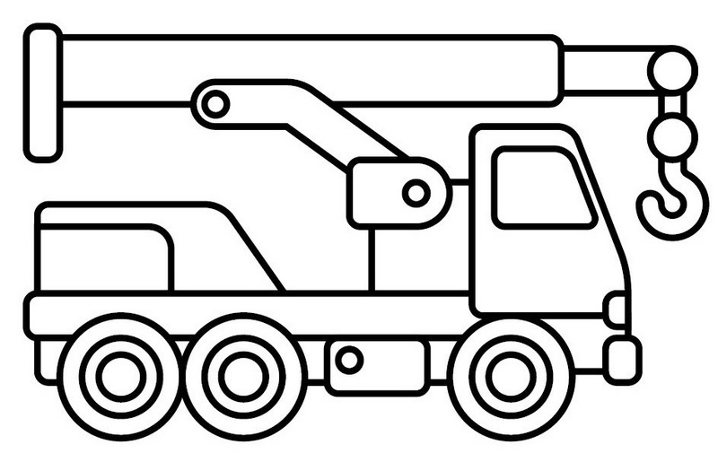 best crane truck lineart drawing and coloring page