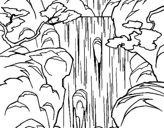 best waterfall coloring sheet for children