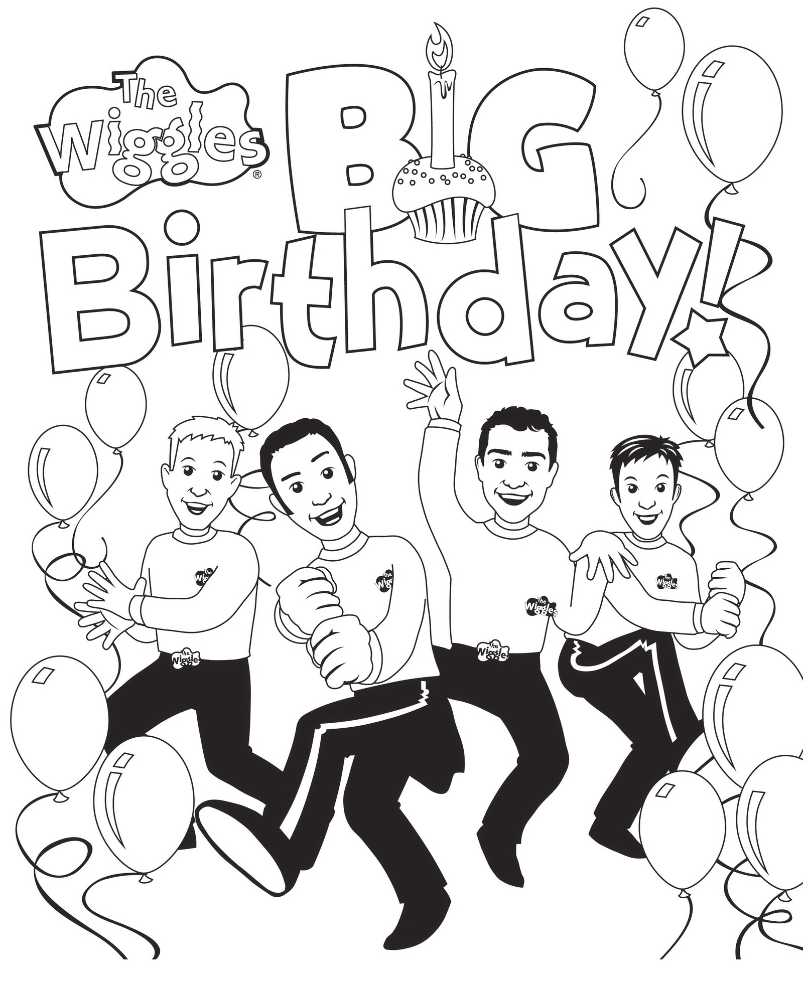 birthday party wiggles coloring page
