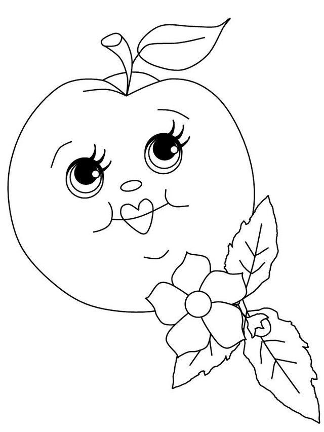 cartoon apple with faces coloring food with face coloring sheets