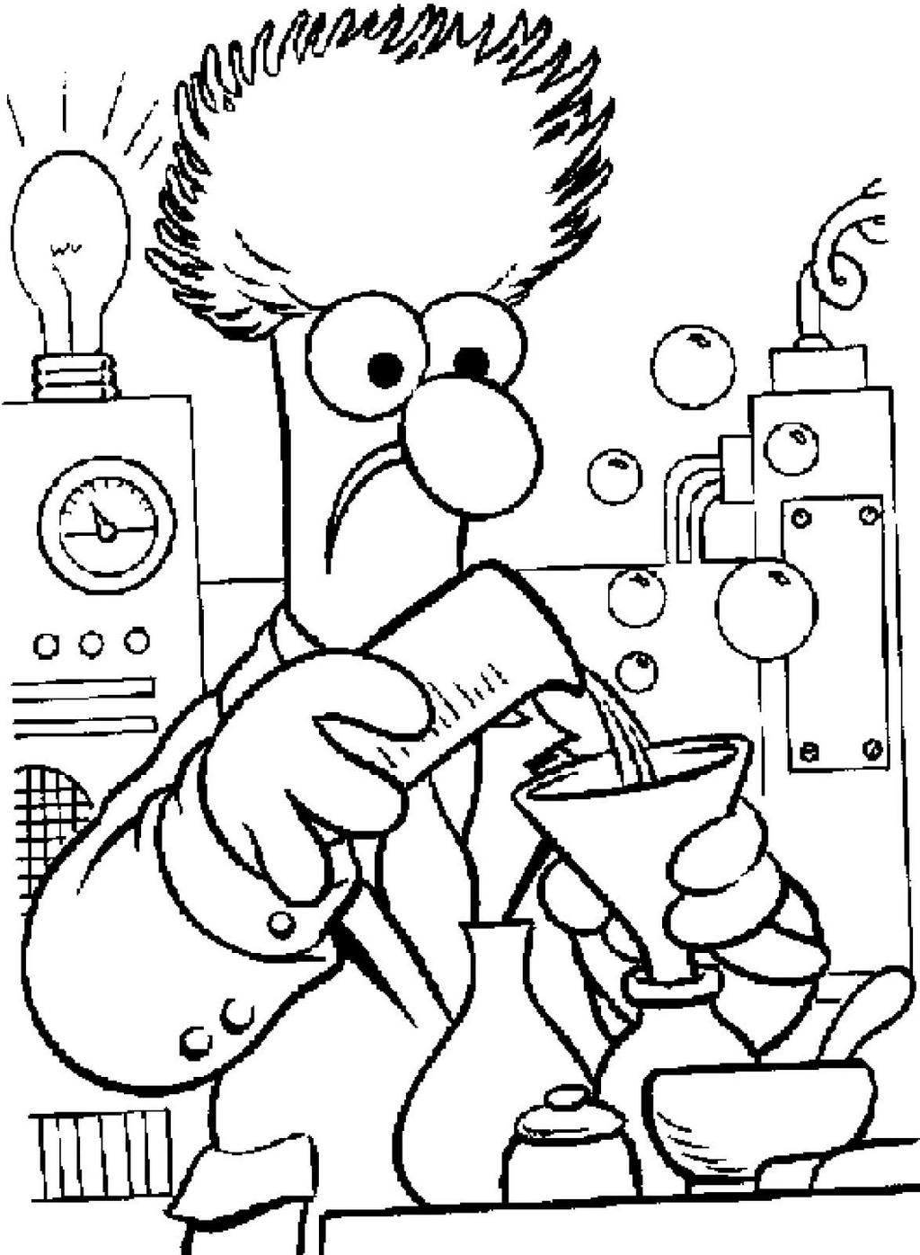 cartoon chemistry coloring page for students and teachers